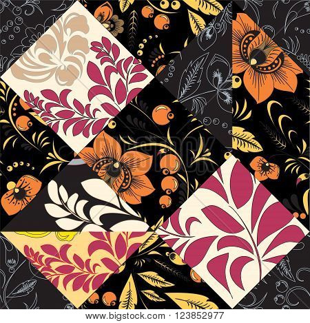 stock vector seamless patchwork pattern. oriental or russian floral design