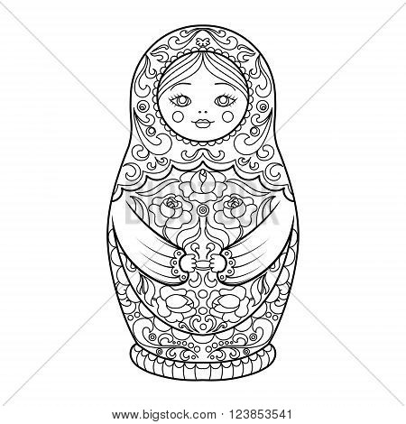Matryoshka coloring book for adults vector illustration. Anti-stress coloring for adult. Zentangle style. Black and white lines. Lace pattern