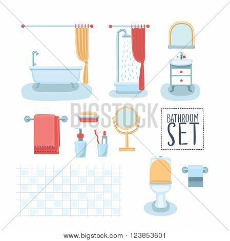Vector set of cute illustration of element bathroom interior