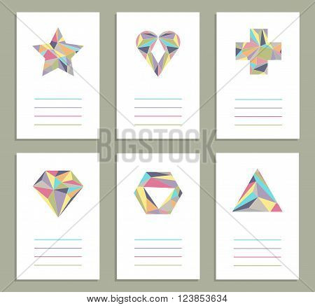 Set of six creative cards. Geometrical shapes. Vector. Isolated