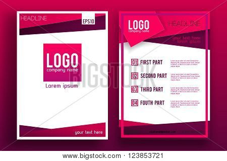 Vector Brochure Flyer design Layout template, size A4, Front page and back page, material style.