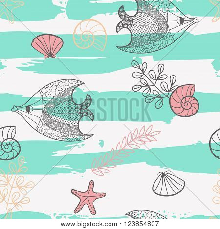 Illustration with beautiful fish starfish shells and algae.Seamless pattern with hand drawn sea creatures. Vector illustration.