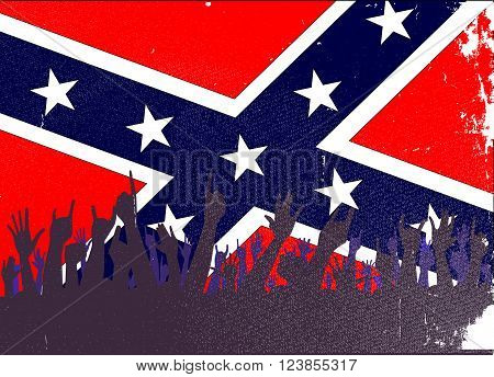 Audience happy reaction with confederate flag background