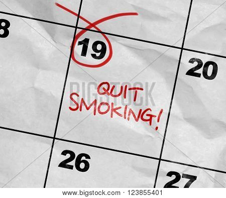 Concept image of a Calendar with the text: Quit Smoking!