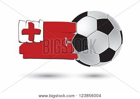 Soccer Ball And Tonga Flag With Colored Hand Drawn Lines