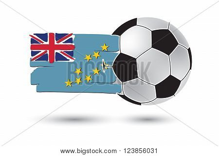 Soccer Ball And Tuvalu Flag With Colored Hand Drawn Lines