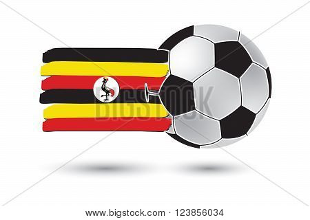Soccer Ball And Uganda Flag With Colored Hand Drawn Lines