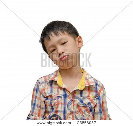 Lonely boy with unhappy face over white background
