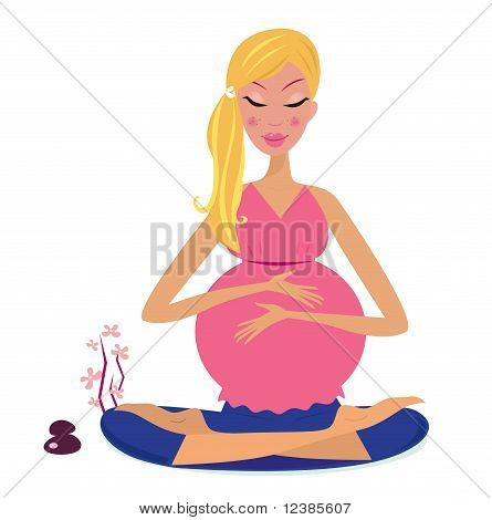Pregnant woman doing yoga lotus position