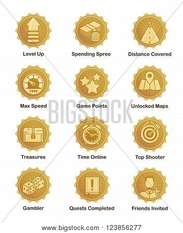 A set of glossy golden achievement winnwer badges to appreciate top players. For shooter, runner, arcade, social and other games.