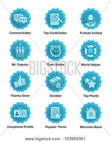 A set of glossy blue achievement winnwer badges to appreciate top contributors. For web, social applications and sites, forums and blogs.