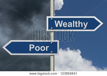 Being Wealthy versus Being Poor Two Blue Road Sign with text Wealthy and Poor with bright and stormy sky background