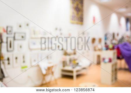 Blur interior of furniture and design store