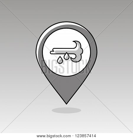 Wind Rain outline pin map icon. Map pointer. Map markers. Meteorology. Weather. Vector illustration eps 10