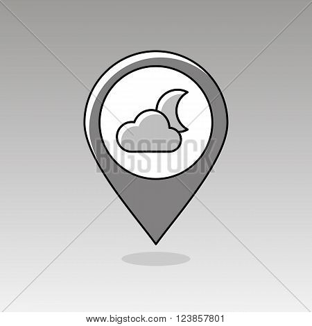 Cloud Moon outline pin map icon. Map pointer. Map markers. Sleep night dreams symbol. Meteorology. Weather. Vector illustration eps 10