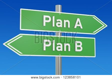plan A or plan B alternative options on the road signpost 3D rendering