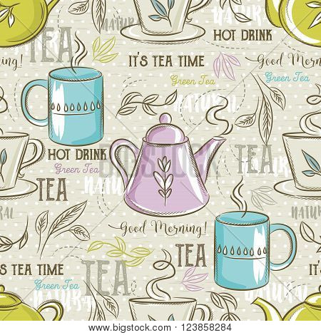 Beige seamless patterns with tea set leafs flower and text.