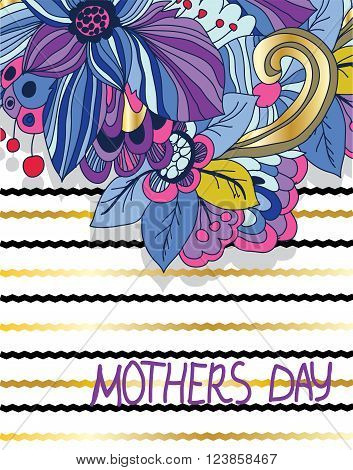 greeting abstract vector colorful background with flowers and mother's day inscription with a zigzagging Golden color background and greeting card