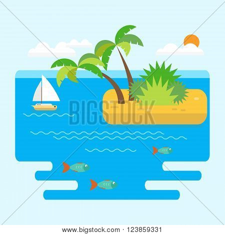Sea landscape vector illustration in flat style. Sea with fish horizon island with palm trees and a boat on a sunny day.