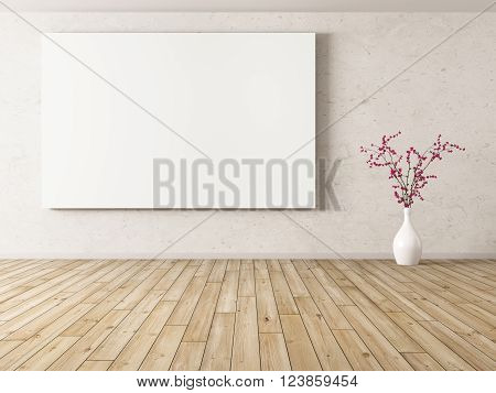 Interior of room with big poster and flower vase background 3d rendering