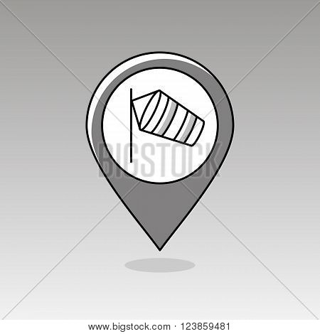 Windsocks hanging at the airport runway pin map icon. Map pointer. Map markers. Meteorology. Weather. Vector illustration eps 10