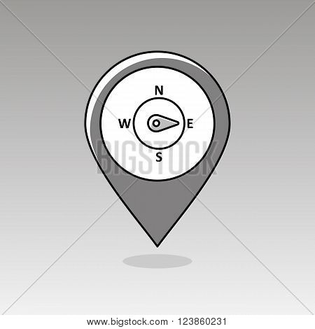 Compass wind rose outline pin map icon. Map pointer. Map markers. Direction east. Meteorology. Weather. Vector illustration eps 10