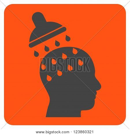 Brain Washing vector pictogram. Image style is bicolor flat brain washing iconic symbol drawn on a rounded square with orange and gray colors.