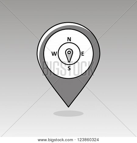 Compass wind rose outline pin map icon. Map pointer. Map markers. Direction south. Meteorology. Weather. Vector illustration eps 10