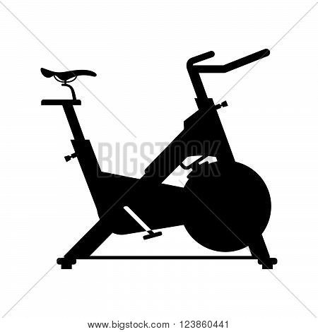Stationary bicycle on white background, shade picture