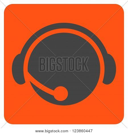 Call Center Operator vector symbol. Image style is bicolor flat call center operator icon symbol drawn on a rounded square with orange and gray colors.