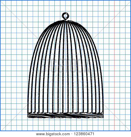 Bird cage with pen effect on paper.