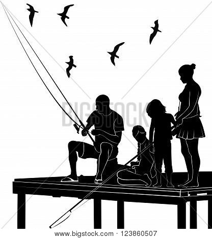 fishing family silhouette vector hobby activity natural