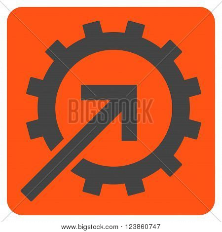 Cog Integration vector symbol. Image style is bicolor flat cog integration icon symbol drawn on a rounded square with orange and gray colors.