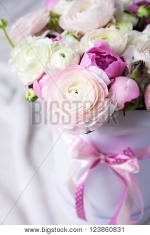 Close Up Of Beautiful Bunch Of Summer Flowers In Box Over White