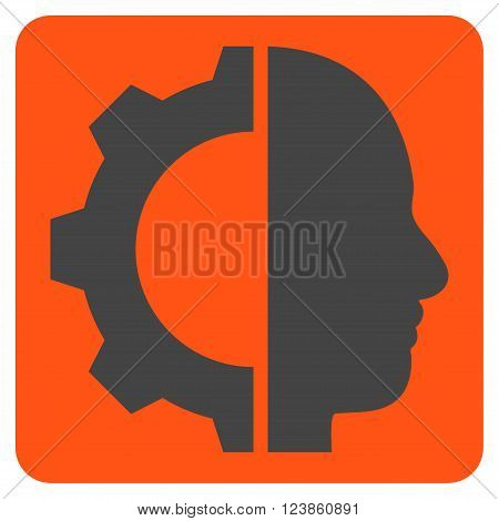 Cyborg Gear vector icon. Image style is bicolor flat cyborg gear pictogram symbol drawn on a rounded square with orange and gray colors.