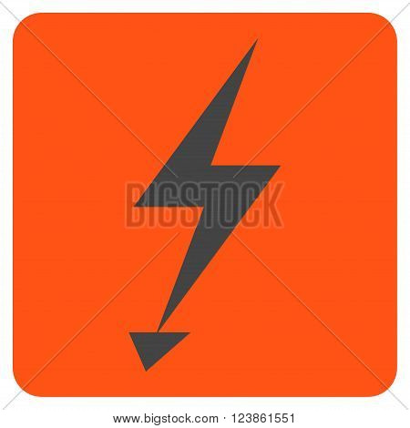 Electric Strike vector icon. Image style is bicolor flat electric strike iconic symbol drawn on a rounded square with orange and gray colors.