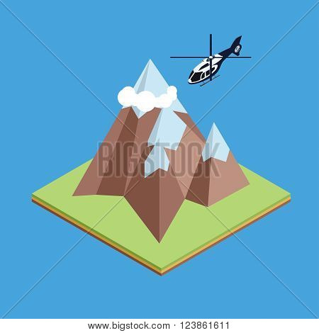 Isometric illustration of helicopter flying between mountain for infographic design