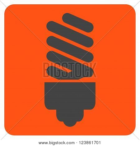 Fluorescent Bulb vector symbol. Image style is bicolor flat fluorescent bulb icon symbol drawn on a rounded square with orange and gray colors.