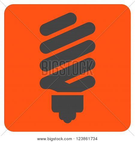 Fluorescent Bulb vector icon symbol. Image style is bicolor flat fluorescent bulb pictogram symbol drawn on a rounded square with orange and gray colors.