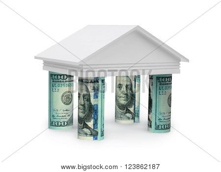 3d concept of bank with rolls dollar banknotes on white background. 3D rendering