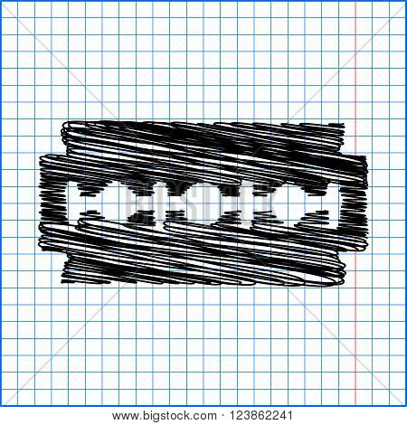 Vector razor blade icon with pen effect on paper.