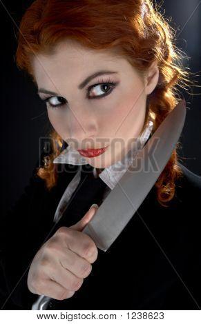 Crazy Schoolgirl With Knife