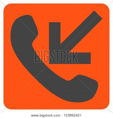 Incoming Call vector symbol. Image style is bicolor flat incoming call iconic symbol drawn on a rounded square with orange and gray colors.