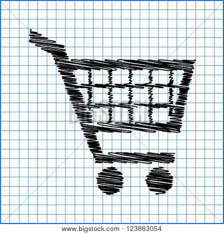 Shopping cart icons signs for online purchases - vector with pen effect on paper.