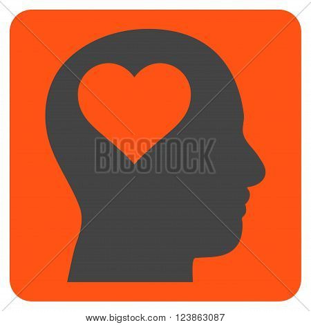 Lover Head vector pictogram. Image style is bicolor flat lover head pictogram symbol drawn on a rounded square with orange and gray colors.