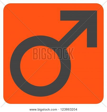 Male Symbol vector icon symbol. Image style is bicolor flat male symbol pictogram symbol drawn on a rounded square with orange and gray colors.