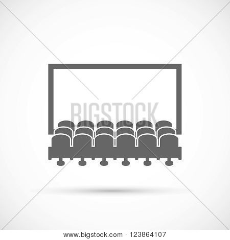 Cinema hall icon.  Rows of cinema seats in front of white blank screen