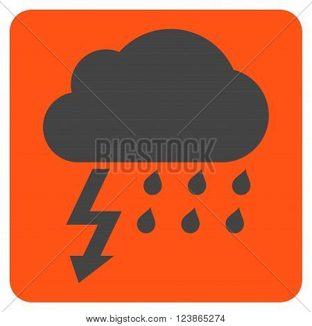 Thunderstorm vector icon. Image style is bicolor flat thunderstorm iconic symbol drawn on a rounded square with orange and gray colors.