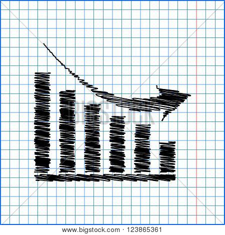 Vector declining graph icon with pen effect on paper.