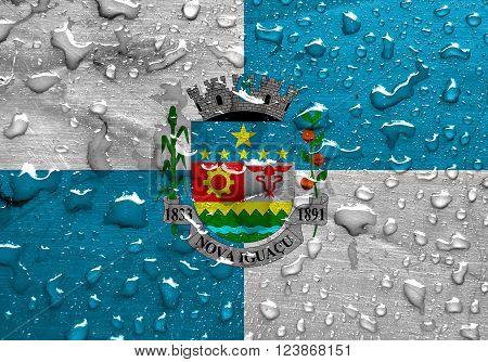 flag of Nova Iguacu with rain drops